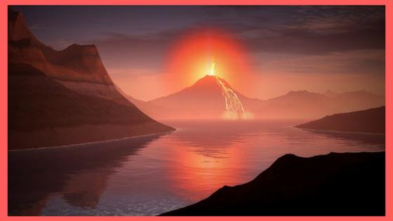 Volcan, Lumière, Auréole, Paysage